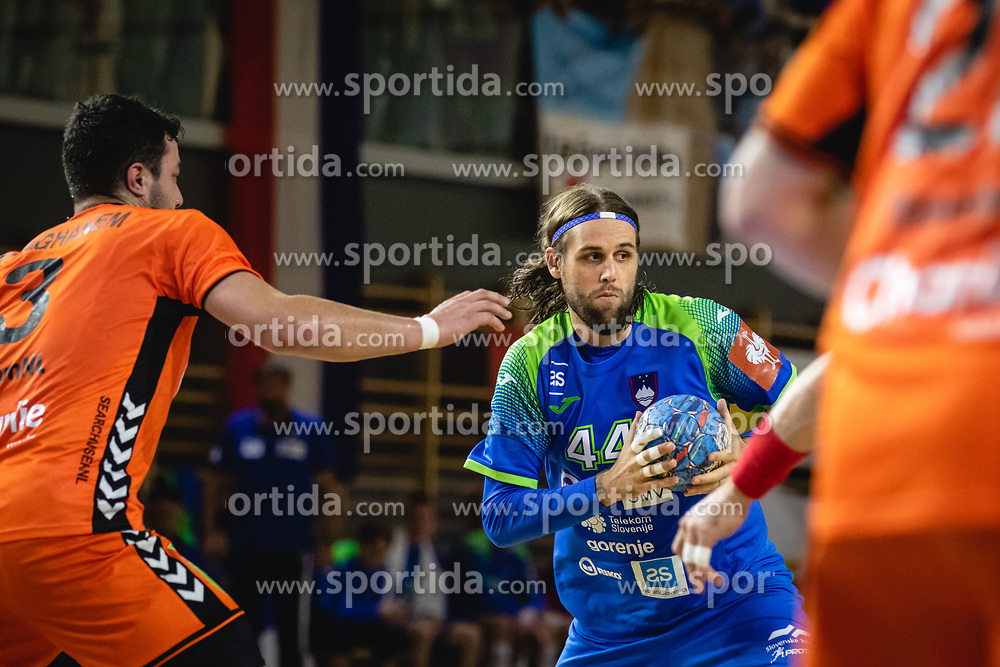 Dean Bombač of Slovenia during friendly handball match between Slovenia and Nederland, on October 25, 2019 in Športna dvorana Hardek, Ormož, Slovenia. Photo by Blaž Weindorfer / Sportida