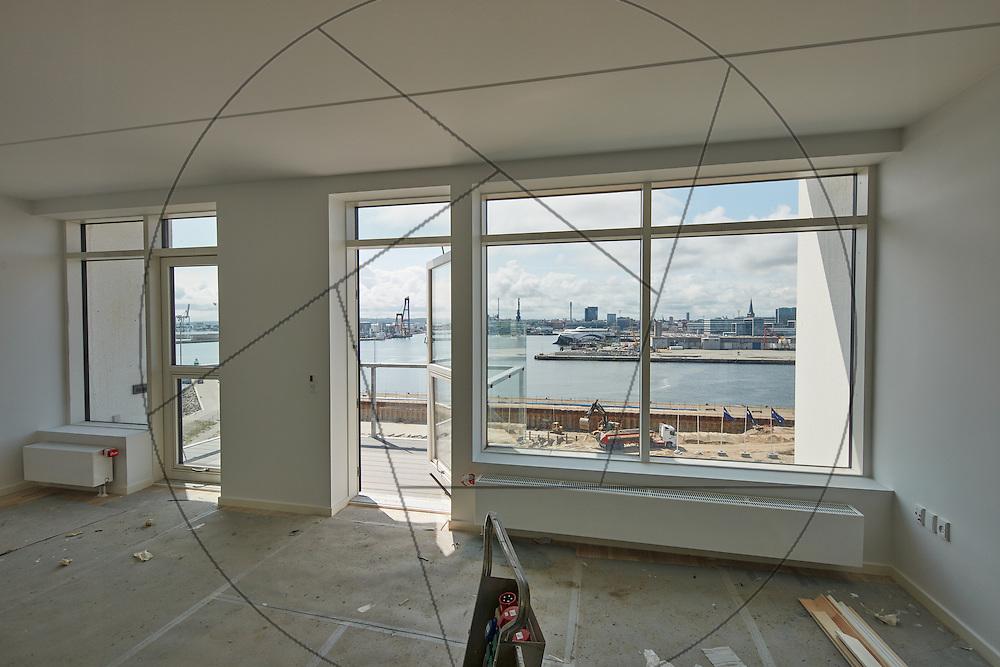 Havneholmen, Aarhus, bygning af nye lejligheder, NCC , interiør, vinduesparti, lejligheder set indefra