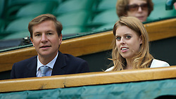 LONDON, ENGLAND - Wednesday, July 2, 2014: Beatrice Windsor (Princess of York) with David Clark during the Ladies' Singles Quarter-Final match on day nine of the Wimbledon Lawn Tennis Championships at the All England Lawn Tennis and Croquet Club. (Pic by David Rawcliffe/Propaganda)