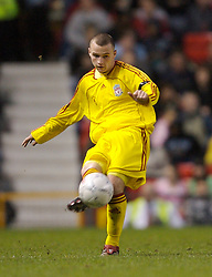 Manchester, England - Thursday, April 26, 2007: Liverpool's Jimmy Ryan in action against Manchester United during the FA Youth Cup Final 2nd Leg at Old Trafford. (Pic by David Rawcliffe/Propaganda)
