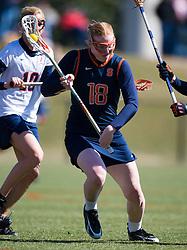 Syrcause Orange M Eileen Finn (18).  The #2 ranked Virginia Cavaliers women's lacrosse team defeated the #4 ranked Syracuse Orange 13-8 at the University of Virginia's Klockner Stadium in Charlottesville, VA on March 1, 2008.