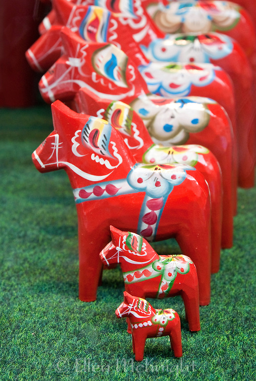 Colorful Dala Horses in a shop window in Stockholm, Sweden