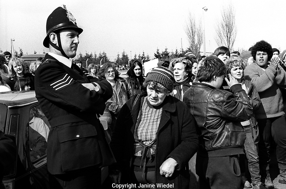 The anti-nuclear Greenham Common Women's Peace Camp in 1983 / 1984. The women only camp surrounded the RAF  base in Berkshire (UK) where American cruise missiles were being stored.
