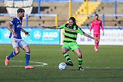 Forest Green Rovers Rob Sinclair(19) on the ball during the FA Trophy match between Macclesfield Town and Forest Green Rovers at Moss Rose, Macclesfield, United Kingdom on 4 February 2017. Photo by Shane Healey.
