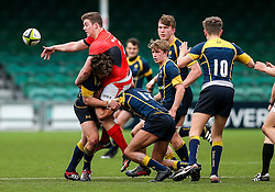 Sam Crean of Saracens U18 is tackled by Charlie Jeavons-Fellows (Scots College, Australia) and Dion King (King's Worcester) of Worcester Warriors U18 - Rogan Thomson/JMP - 16/02/2017 - RUGBY UNION - Sixways Stadium - Worcester, England - Worcester Warriors U18 v Saracens U18 - Premiership Rugby Under 18 Academy Finals Day 5th Place Play-Off.