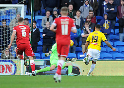 Brentford's Andre Gray scores against Cardiff City - Photo mandatory by-line: Paul Knight/JMP - Mobile: 07966 386802 - 20/12/2014 - SPORT - Football - Cardiff - Cardiff City Stadium - Cardiff City v Brentford - Sky Bet Championship