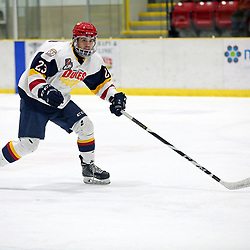 WELLINGTON, ON - FEBRUARY 15: Jacob Thousand #23 of the Wellington Dukes skates up ice in the third period on February 15, 2019 at Wellington and District Community Centre in Wellington, Ontario, Canada.<br /> (Photo by Ed McPherson / OJHL Images)