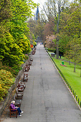 Edinburgh, Scotland, UK. 1 May 2020. Views of Edinburgh as coronavirus lockdown continues in Scotland. Streets remain deserted and shops and restaurants closed and many boarded up. Pictured; Princes Street Gardens is almost deserted.  Iain Masterton/Alamy Live News
