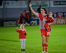 NEWPORT, WALES - Friday, August 31, 2018: Wales' Helen Ward, with her children, after the FIFA Women's World Cup 2019 Qualifying Round Group 1 match between Wales and England at Rodney Parade. (Pic by David Rawcliffe/Propaganda)