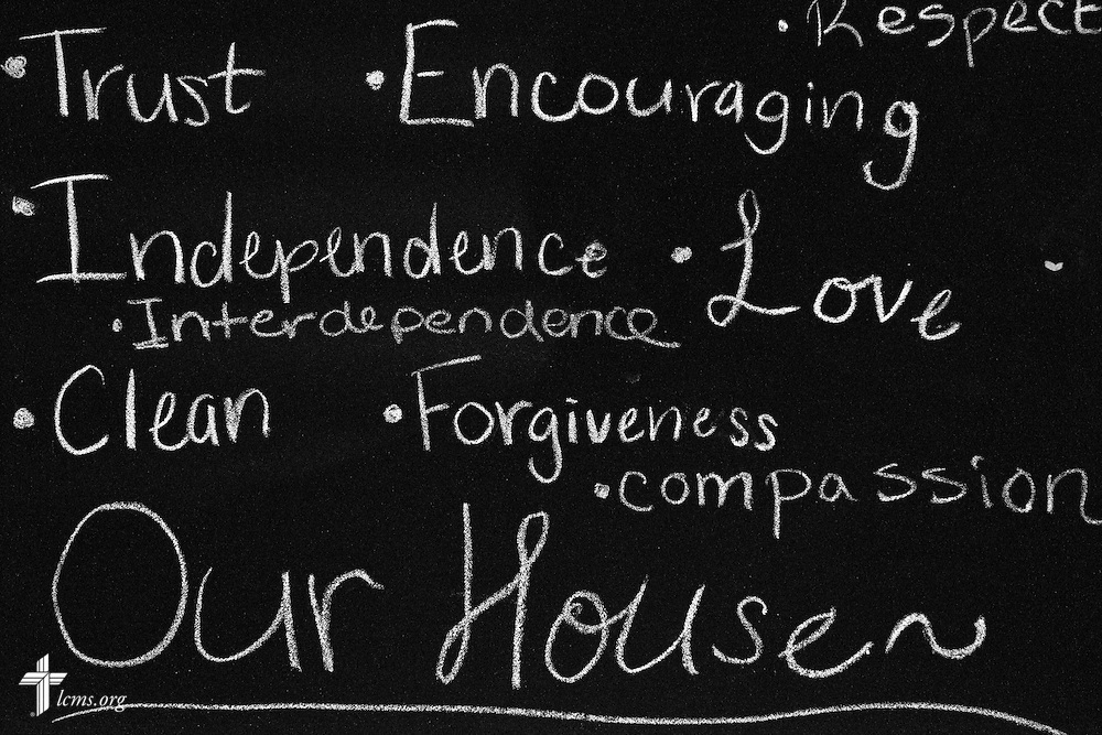 A chalkboard greets residents at Redeeming Life Maternity Home  on Thursday, Feb. 12, 2015, in Sanford, Fla. The Christ-centered home of Redeeming Life Outreach Ministries is a safe haven for single women in crisis pregnancy. LCMS Communications/Erik M. Lunsford