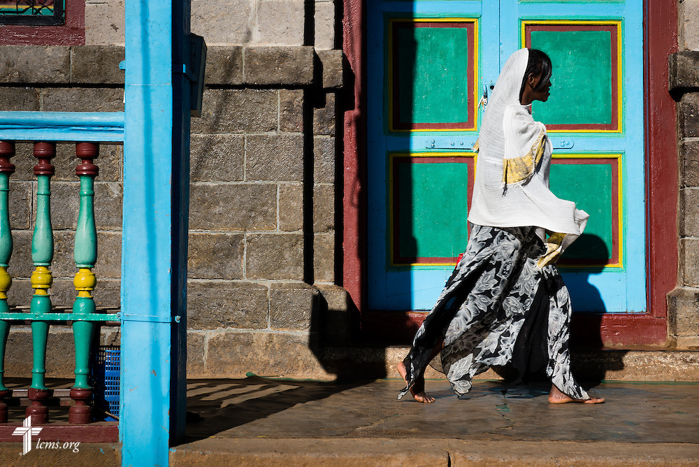 A walks at the Entoto Maryam Church, on the foot of Mount Entoto in Addis Ababa, Ethiopia, on Sunday, Nov. 9, 2014. LCMS Communications/Erik M. Lunsford