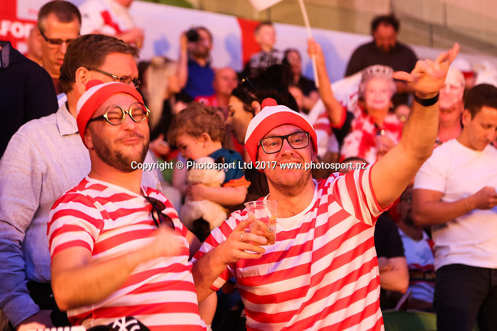 England fans during the Australia Vs England 2017 Rugby League World Cup match at the Melbourne Rectangular Stadium, Melbourne Australia. Friday 27 October 2017. © copyright photo: Brendon Ratnayake / www.Photosport.nz