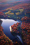 PA landscapes, Aerial Photograph, Pine Grove Furnace State Park, Autumn Foliage,  Pennsylvania