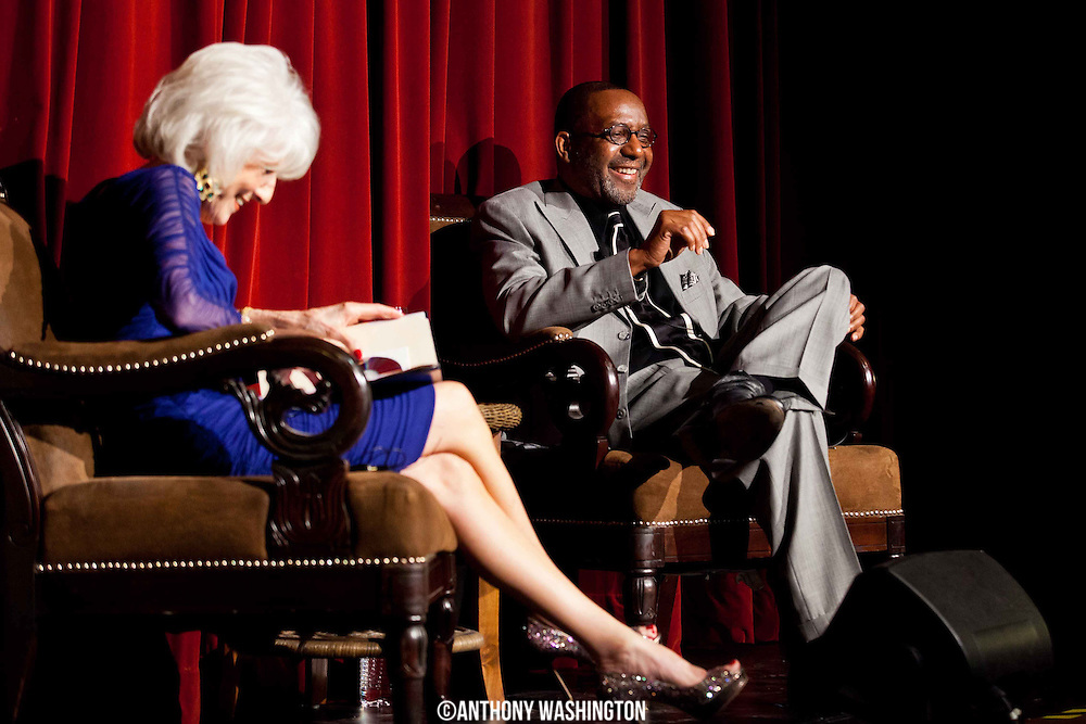 Kojo Nnamdi laughs while being interviewed by Diane Rehm during The Kojo Shindig at the Carnegie Library in Washington, DC on Friday, November 1, 2013.