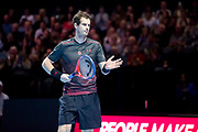 Andy Murrray awaits serve during the Andy Murray Live event at SSE Hydro, Glasgow, Scotland on 7 November 2017. Photo by Craig Doyle.