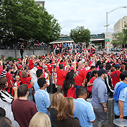 New York Red Bulls fans celebrate their teams 3-1 victory outside Yankee Stadium after the New York City FC Vs New York Red Bulls, MSL regular season football match at Yankee Stadium, The Bronx, New York,  USA. 28th June 2015. Photo Tim Clayton