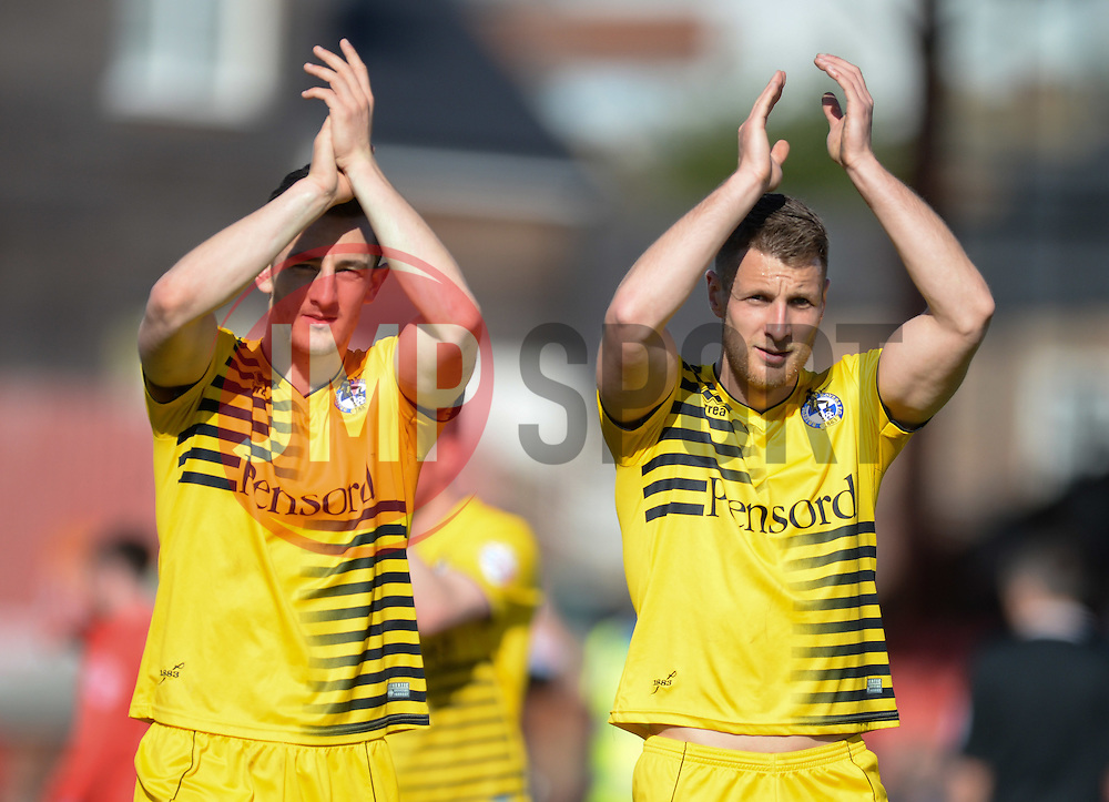 Tom Lockyer of Bristol Rovers and Lee Brown of Bristol Rovers clap the traveling support. - Mandatory by-line: Alex James/JMP - 30/04/2016 - FOOTBALL - Bootham Crescent - York, England - York City v Bristol Rovers - Sky Bet League Two