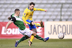 February 17, 2018 - Brussels, BELGIUM - Cercle's Benjamin Delacourt and Union's Julien Vercauteren fight for the ball during a soccer game between Union Saint-Gilloise and Cercle Brugge, in Brussels, Saturday 17 February 2018, on day 27 of the division 1B Proximus League competition of the Belgian soccer championship. BELGA PHOTO YORICK JANSENS (Credit Image: © Yorick Jansens/Belga via ZUMA Press)