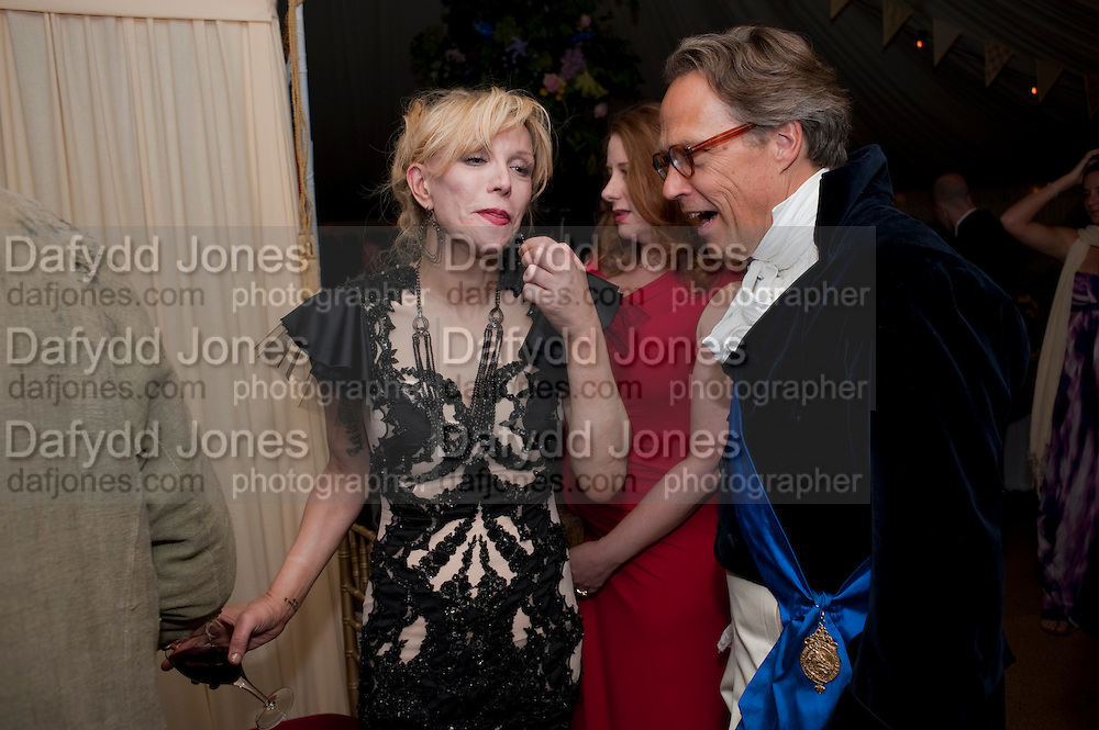 COURTNEY LOVE; THE EARL OF MARCH, The Goodwood Ball. In aid of Gt. Ormond St. hospital. Goodwood House. 27 July 2011. <br /> <br />  , -DO NOT ARCHIVE-© Copyright Photograph by Dafydd Jones. 248 Clapham Rd. London SW9 0PZ. Tel 0207 820 0771. www.dafjones.com.