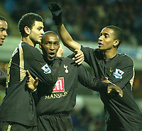 Photo: Aidan Ellis.<br /> Blackburn Rovers v Tottenham Hotspur. The Barclays Premiership. 19/11/2006.<br /> Spurs Jermain Defoe (c) celebrates his eqaualiser from the penalty spot with Hossam Ghally (L) and Benoit Assou Ekotto