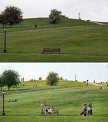 © Licensed to London News Pictures. 28/04/2020. London, UK. Comparison picture showing Primrose Hill in North London with nobody exercising or lying down, in the rain today (TOP) and the same scene in warm weather earlier in lockdown on 11/04/2020 (BOTTOM). Photo credit: Ben Cawthra/LNP