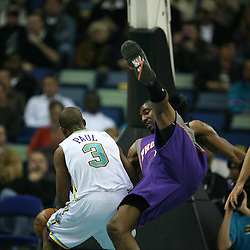 Chris Paul called for charging for the New Orleans Hornets against the Phoenix Suns on February 26, 2008 at the New Orleans Arena in New Orleans, Louisiana. The New Orleans Hornets defeated the Phoenix Suns 120-103.