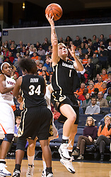 Colorado guard Alyssa Fressle (1) skies for a layup against UVA.  The #16 ranked Virginia Cavaliers women's basketball team defeated the Colorado Buffaloes 77-43 at the John Paul Jones Arena on the Grounds of the University of Virginia in Charlottesville, VA on November 24, 2008.