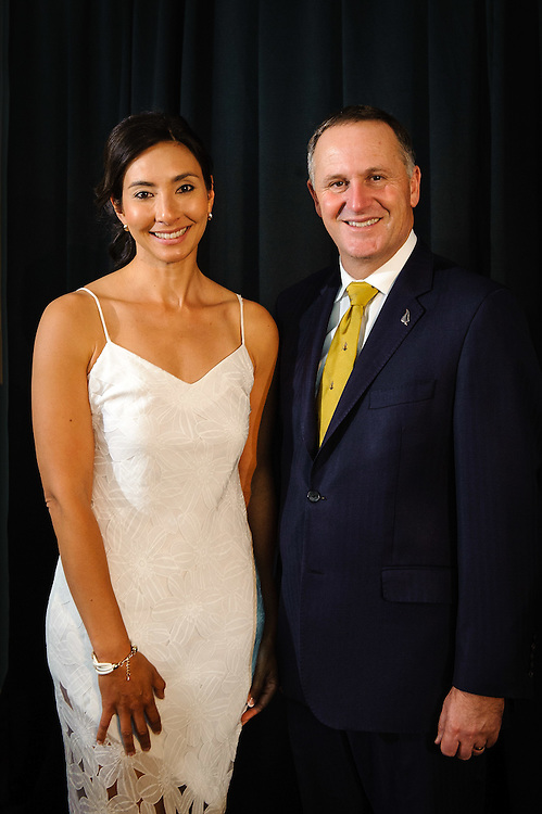 WELLINGTON, NEW ZEALAND - December 02: Science<br /> Communicator winner Michelle Dickinson with Prime Minister Rt Hon John Key. Prime Ministers Science Prizes December 02, 2014 in Wellington, New Zealand.  (Photo by Mark Tantrum/ mark tantrum.com)