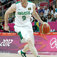 02 August 2012: Brazil Marcelinho Huertas dribbles during 75-74 Team Russia victory over Team Brazil, during the men's basketball preliminary, at the Basketball Arena, in London, Great Britain.