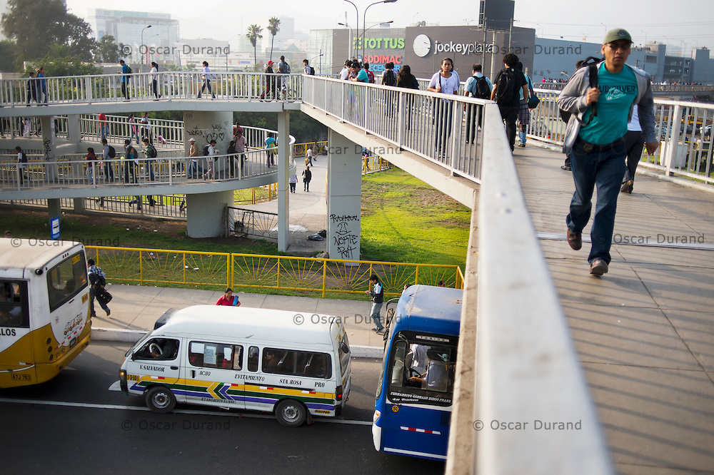 """The intersection of Evitamiento and Javier Prado, in an area known as """"Trebol de Javier Prado"""" in Lima, during the morning rush hour."""
