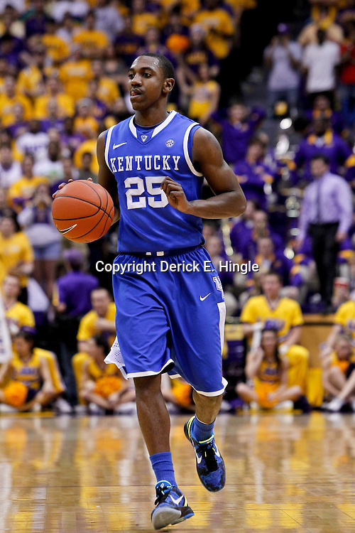 January 28, 2012; Baton Rouge, LA; Kentucky Wildcats guard Marquis Teague (25) against the LSU Tigers during a game at the Pete Maravich Assembly Center. Kentucky defeated LSU 74-50.  Mandatory Credit: Derick E. Hingle-US PRESSWIRE