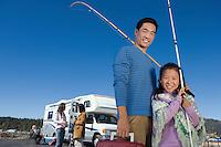 Man and Girl Going Fishing