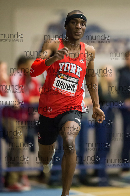 Windsor, Ontario ---2015-03-13--- Jameel Brown of York University competes in the 300m at the 2015 CIS Track and Field Championships in Windsor, Ontario, March 13, 2015.<br /> GEOFF ROBINS/ Mundo Sport Images