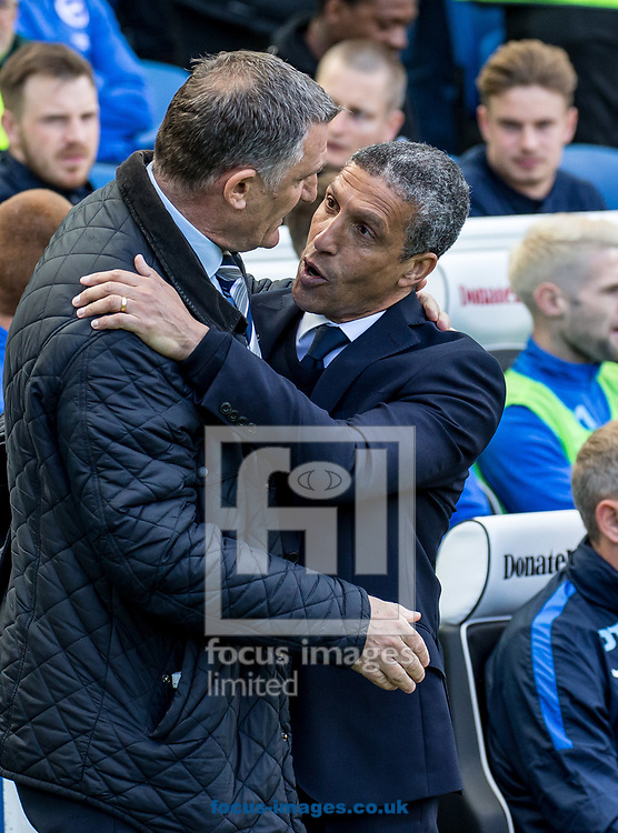 Chris Hughton manager of Brighton &amp; Hove Albion greets Tony Mowbray manager of Blackburn Rovers during the Sky Bet Championship match at the American Express Community Stadium, Brighton and Hove<br /> Picture by Liam McAvoy/Focus Images Ltd 07413 543156<br /> 01/04/2017
