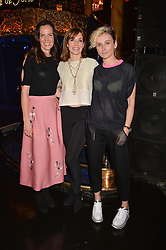 Left to right, Brita Fernandez Schmidt, Darcey Bussell and Jo Manoukain at the SheInspiresMe Dance in aid of Women for Women International held at the Café de Paris, 3 Coventry Street, London England. 25 January 2017.
