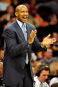 Jan. 21, 2011; Cleveland, OH, USA; Cleveland Cavaliers head coach Byron Scott yells at his team during the third quarter against the Milwaukee Bucks at Quicken Loans Arena. The Bucks beat the Cavaliers 102-88. Mandatory Credit: Jason Miller-US PRESSWIRE