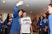 LUCCA 20 NOVEMBRE  2015<br /> BASKET NAZIONALE FEMMINILE<br /> MISS ITALIA ALICE SABATINI IN VISITA AL RITIRO DELLA NAZIONALE<br /> NELLA FOTO: Alice Sabatini Giorgia Sottana<br /> FOTO CIAMILLO