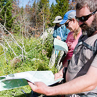 hikers looking over maps in the badger two medicine