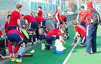 ROTTERDAM -  England prepares for te match. . Practice Match Hockey : Netherlands Boys U18  v England U18 . COPYRIGHT KOEN SUYK