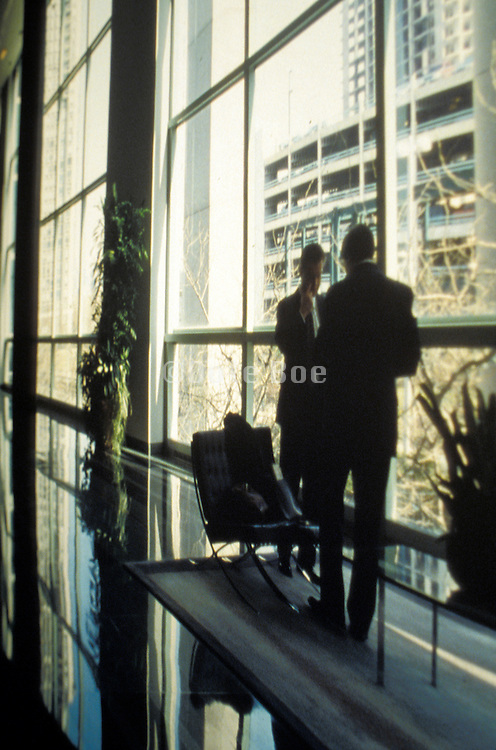 professionals standing in office building waiting area