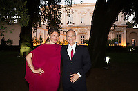 ROME, ITALY - 3 JUNE 2015: (L-R) Gala chair Ginevra Elkann and President of the American Academy Mark Robbins pose for a for a portrait at the McKim Medal Gala honouring Carlo Petrini and Paolo Sorrentino at the American Academy  in Rome, Italy, on June 3rd 2015.