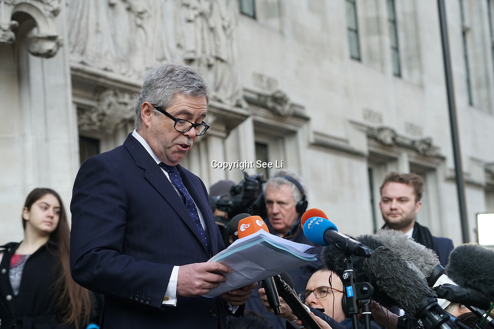 London,England,UK: 24th January 2017. Speaker David Green after hearing Gina Miller wins supreme Court ruling case after Judges rule government cannot trigger Article 50 to start the formal process of leaving the European Union without a parliamentary vote, Westminster,London,UK. by See Li