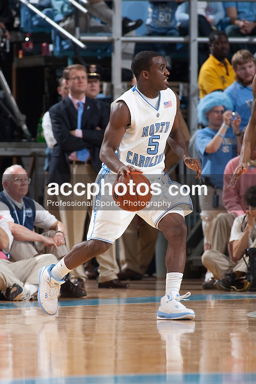 07 February 2009: North Carolina Tar Heels guard Ty Lawson (5) during a 76-61 win over the Virginia Cavaliers at the Dean Smith Center in Chapel Hill, NC.