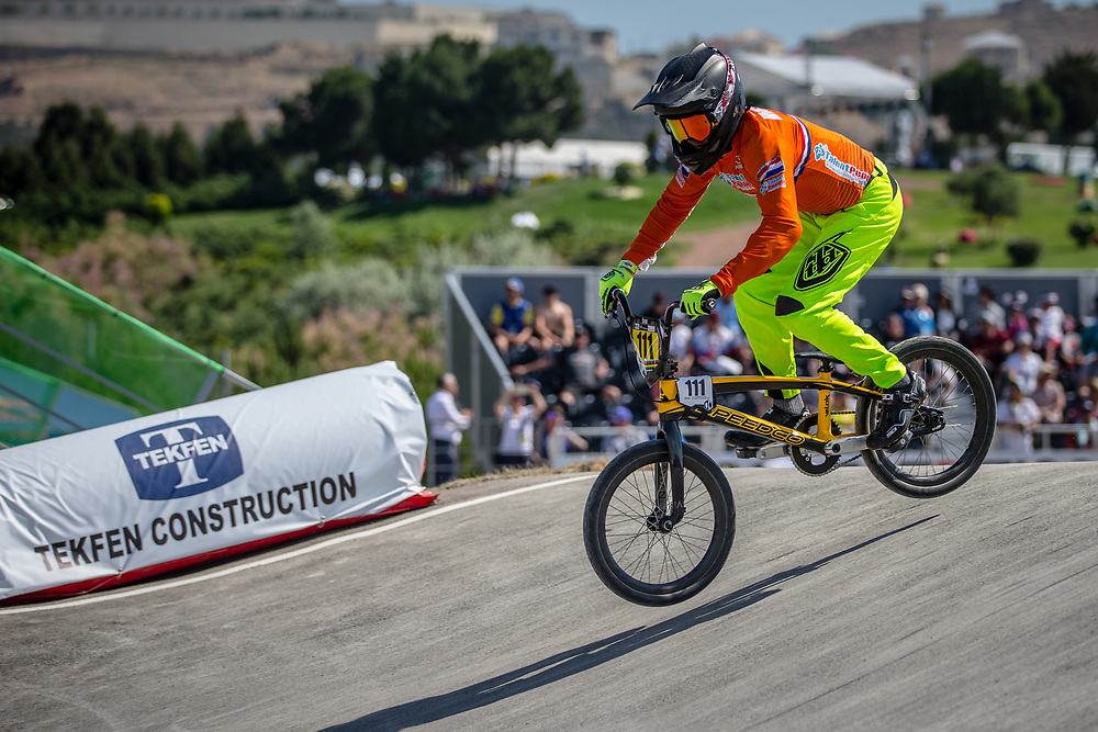 14 Boys #111 (MIK Jason) NED at the 2018 UCI BMX World Championships in Baku, Azerbaijan.