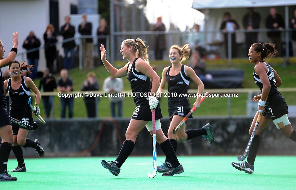 NZ's Clarissa Eshuis celebrates her goal.<br /> International hockey match - New Zealand Black Sticks v India fifth test at National Hockey Stadium, Wellington. Sunday, 23 May 2010. Photo: Dave Lintott/PHOTOSPORT