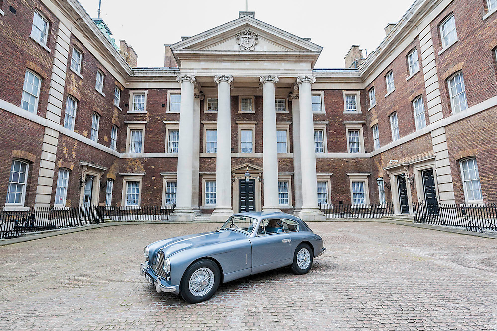 An Aston Martin DB 2/4, which is understood to have been Ian Fleming's inspiration for James Bond's Aston Martin in the original novel Goldfinger. It was recently discovered and refurbished by owners  John and Daniel Walford.  It is to be auctioned on 12 July at Blenheim Palace  by international auctioneers Coys. The Old Admiralty Building, Whitehall London