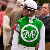 Jockey Calvin Borel awaits his horse in the paddock at Keeneland during the 2009 Fall Meet.  Borel has ridden three thoroughbreds to victory in the Kentucky Derby - Street Sense (2007), Mine That Bird (2009), and Super Saver (2010).