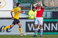 KERKRADE - 20-11-2016, Roda JC - AZ, Park Stad Limburg Stadion, teleurstelling na de 1-0 bij AZ speler Ron Vlaar, Roda JC speler Nestor Mytides