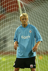 BANGKOK, THAILAND - Wednesday, July 23, 2003: Liverpool's Zac Whitbread during a training session in at the Rajamangala National Stadium. (Pic by David Rawcliffe/Propaganda)