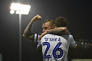 Bury Midfielder, Jay O'Shea (26) and Bury Midfielder,  Nicky Adams (7) celebrate 3-1 goal celebration during the EFL Sky Bet League 2 match between Bury and Crewe Alexandra at the JD Stadium, Bury, England on 1 January 2019.